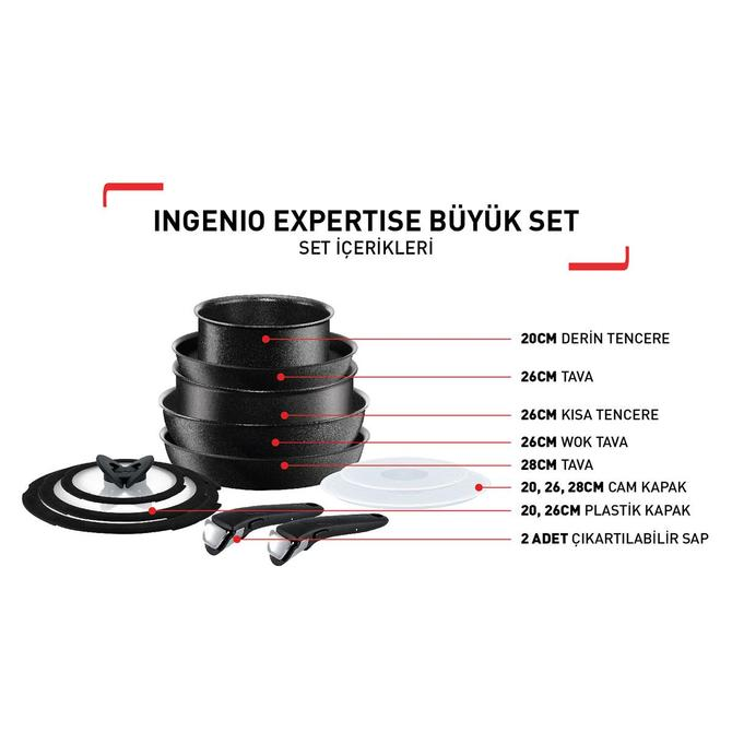 2100103640 Titanium Ingenio Expertise Büyük Tava ve Tencere Seti - 12 Parça