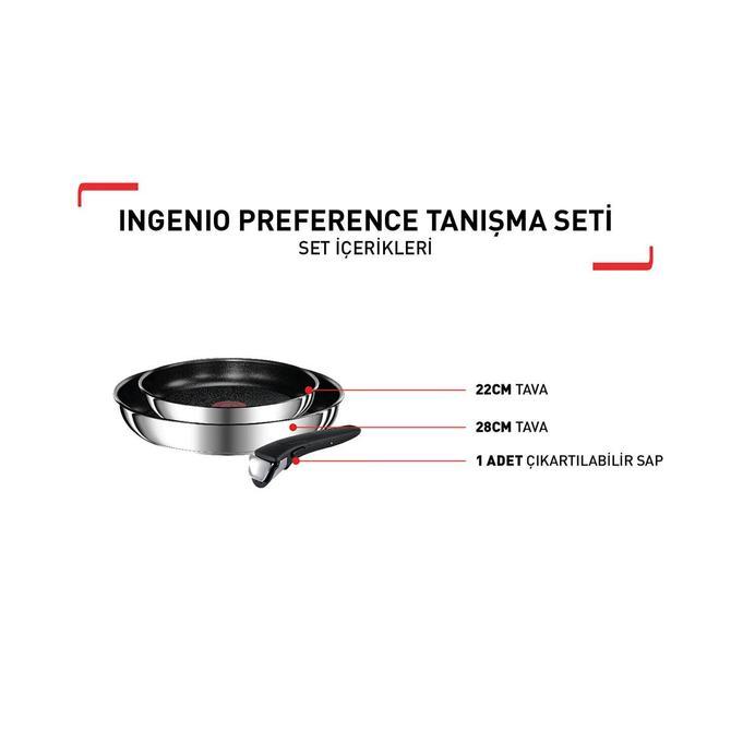 Tefal 2100111098 Titanium Ingenio Preference Tanışma Tava Seti - 3 Parça