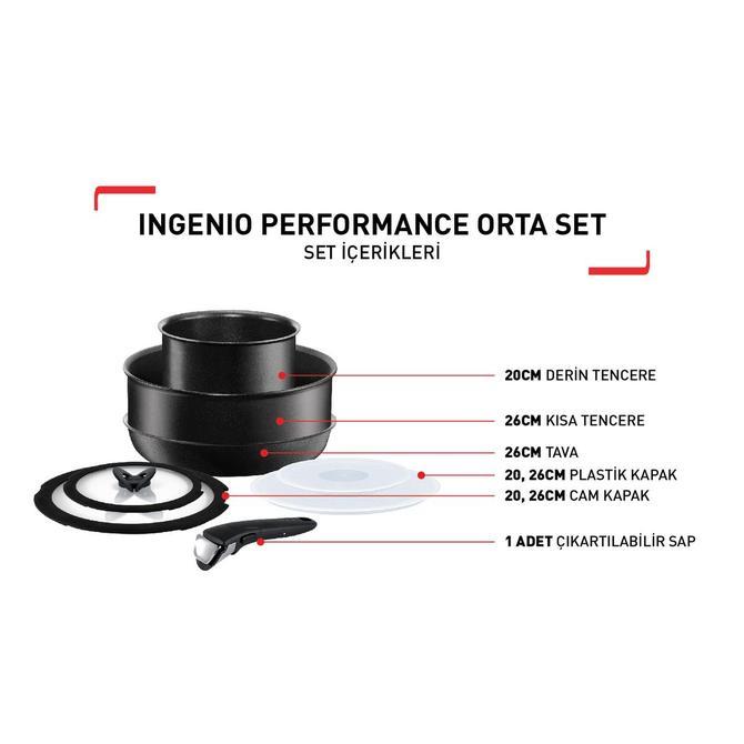 2100098551 Ingenio Titanium Performance Orta Tava ve Tencere Seti - 8 Parça